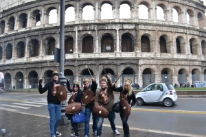 Being gladiators in Rome, Italy