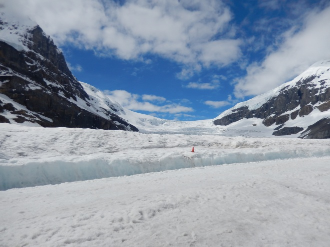 Standing on top of the Athabasca Glacier