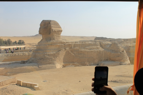 The best view we got of the Sphinx... from the bus