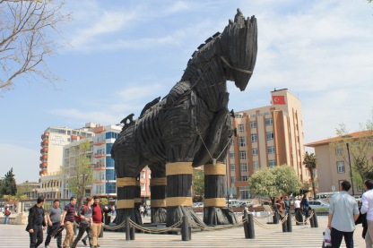 Trojan horse used in the movie 'Troy' in Cannakale