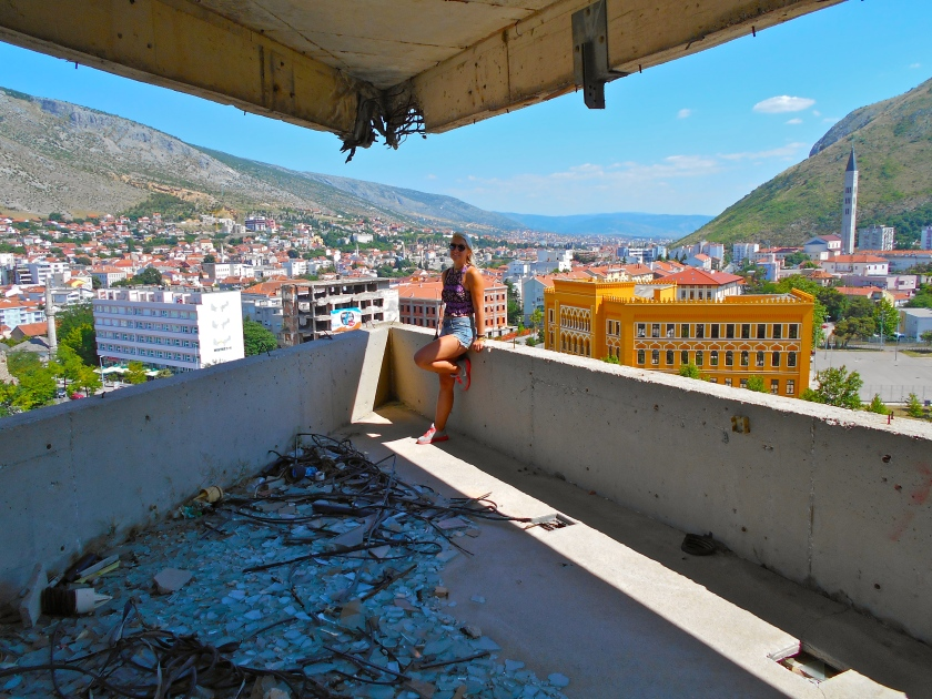 Climbing an abandoned sniper tower used in the Bosnian war in the 1990's - Mostar, Bosnia & Herzegovina